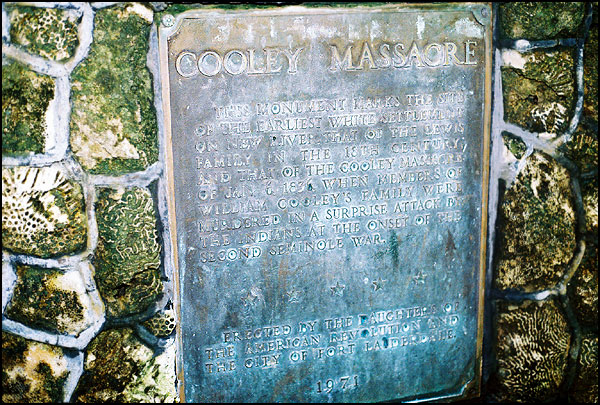 describes the andrew cooley family massacre in 1836 and is located in colee hammock park named after george colee whose family was originally thought to     himmarshee chapter of the daughters of the american revolution   dar  rh   himmarsheedar org